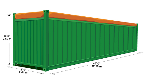 Kích thước container 40 feet open top
